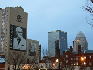 A couple of Louisville's favorites: Col. Sanders in the foreground and Diane Sawyer beyond.