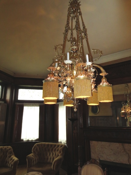 One of many beautiful chandeliers in the mansion.