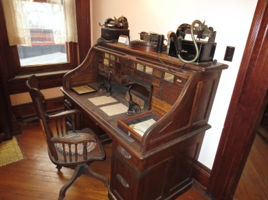 One of several desks in the museum, this has several fascinating examples of old office equipment.