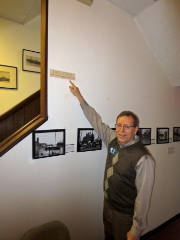 Keith points out the high water mark from the 1937 flood, when the Ohio River was seven feet up in the house.