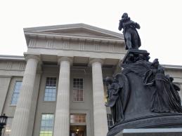 T. Jefferson outside Louisville Metro Hall.