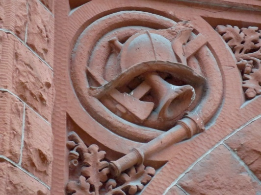 Detail from the red building. Originally a firehouse, apparently.