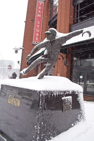 I think this is my favorite statue, of Bob Gibson in is classic follow-through after throwing a fastball.