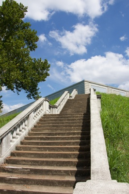 Steps up to the Compton Hill Reservoir.