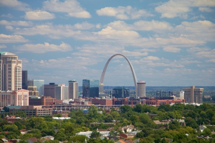 Busch Stadium and the Gateway Arch.