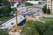Under-construction: the Grand Avenue bridge over Highway 44.