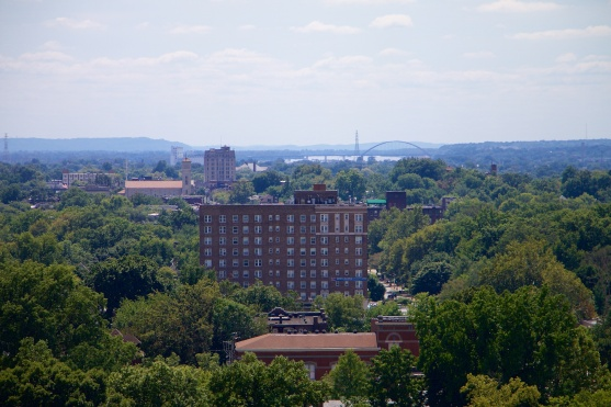 View to the south, with the Jefferson Barracks Bridge in the distance.